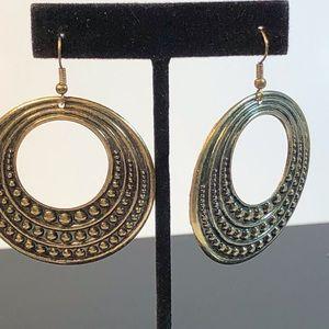 Large Brass Drop Hoop Earrings
